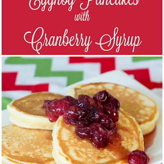 Eggnog Pancakes with Cranberry Syrup.