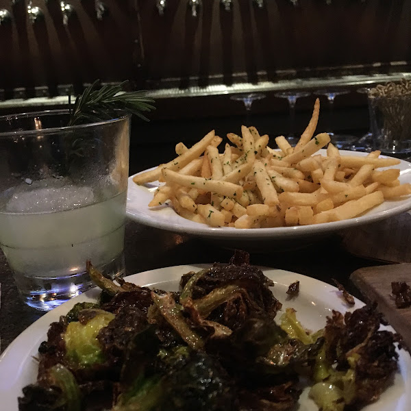 Dedicated fryer for French fries and omg the Brussels sprouts  (they can eliminate the bacon and cheese if you have other allergies like me :)