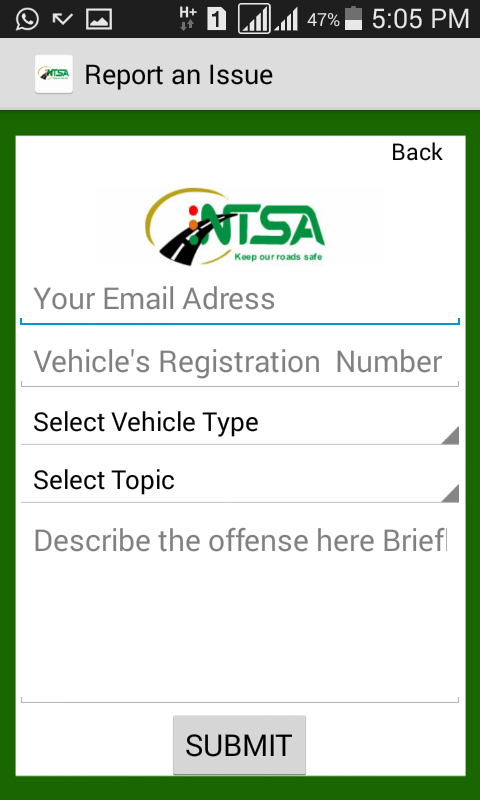 NTSA  APP- screenshot