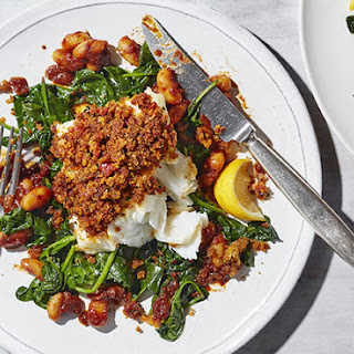 Chorizo Baked Cod With Sticky Beans.