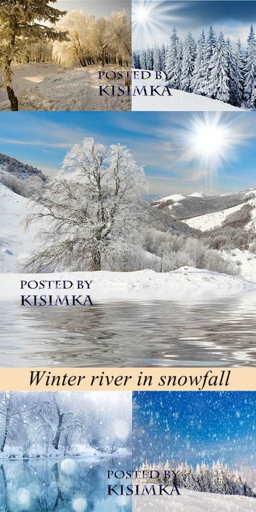 Stock Photo: Winter river in snowfall