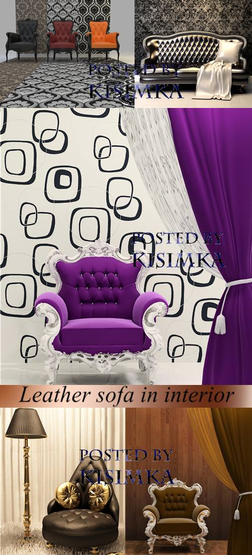 Stock Photo: Leather sofa in interior with decoration wallpaper