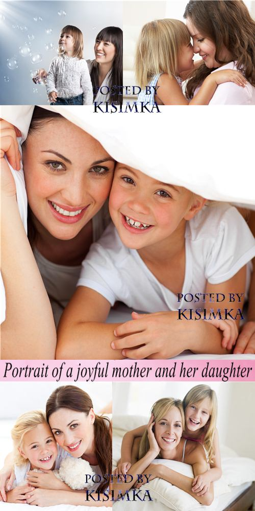 Stock Photo: Portrait of a joyful mother and her daughter