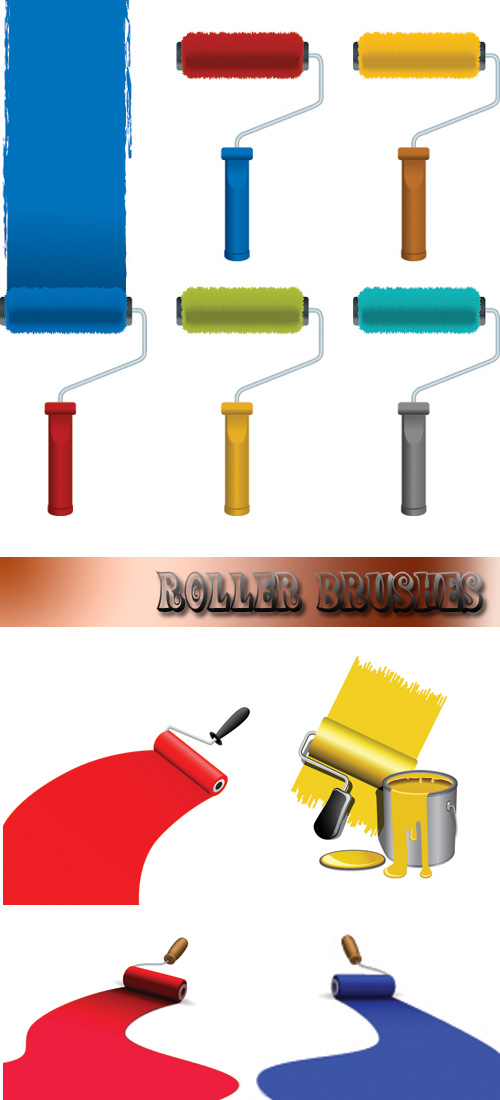 Stock: Roller brushes with paint strokes