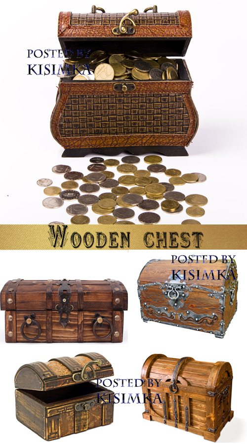 Stock Photo: Wooden chest on white background