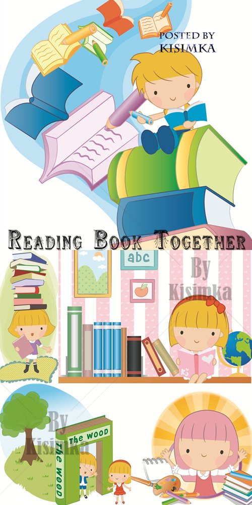 Stock: Reading Book Together vector