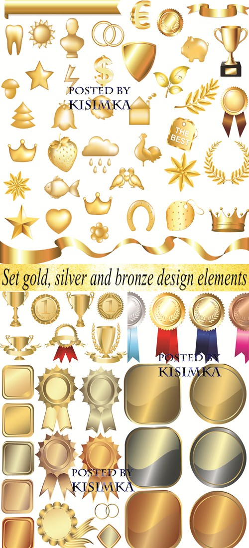 Stock: Set gold, silver and bronze design elements