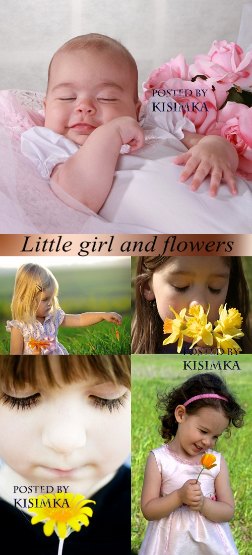 Stock Photo: Little girl and flowers