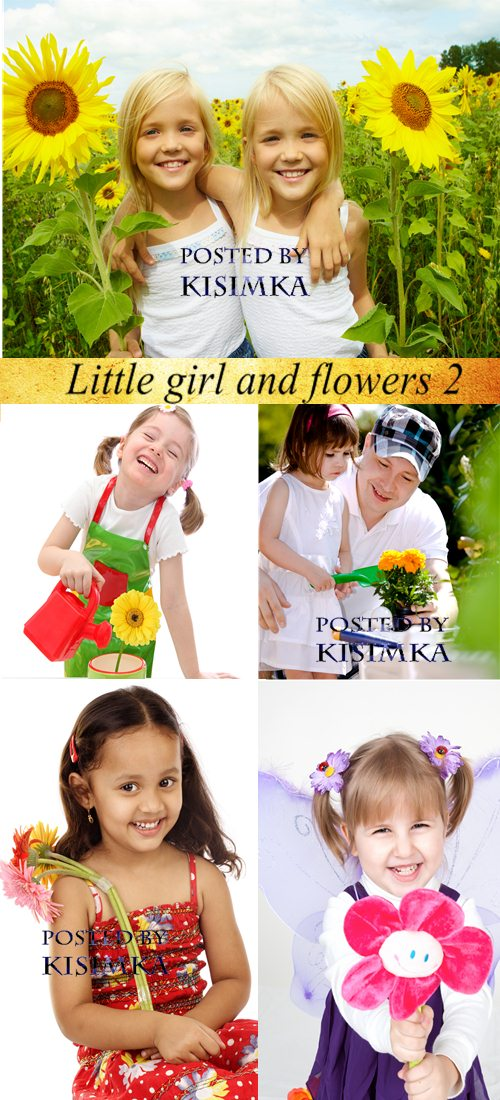 Stock Photo: Little girl and flowers 2