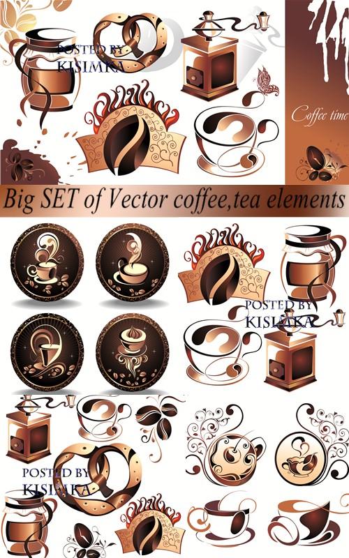 Stock: Big SET of Vector coffee, tea elements