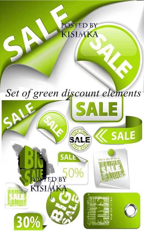 Stock: Set of green discount elements