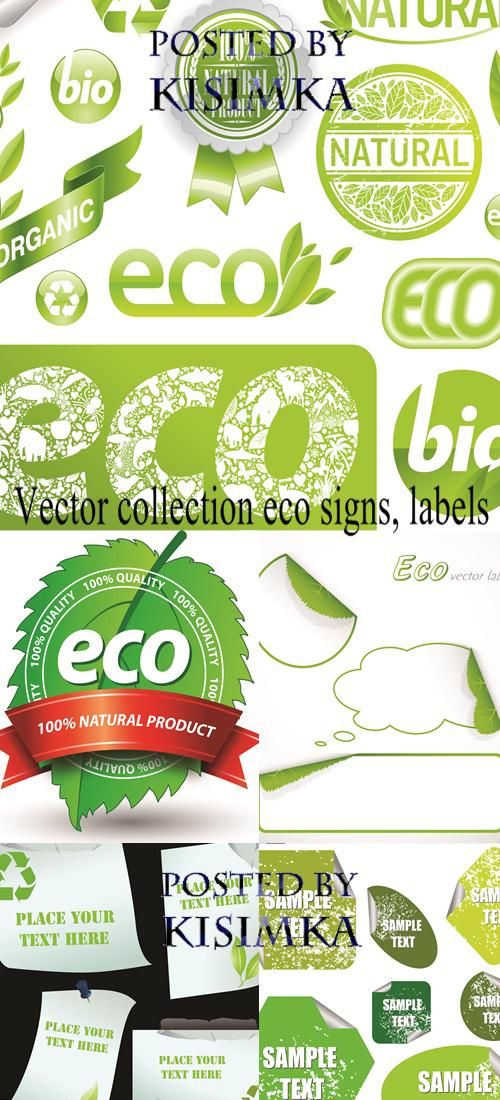 Stock:Vector collection eco signs, labels