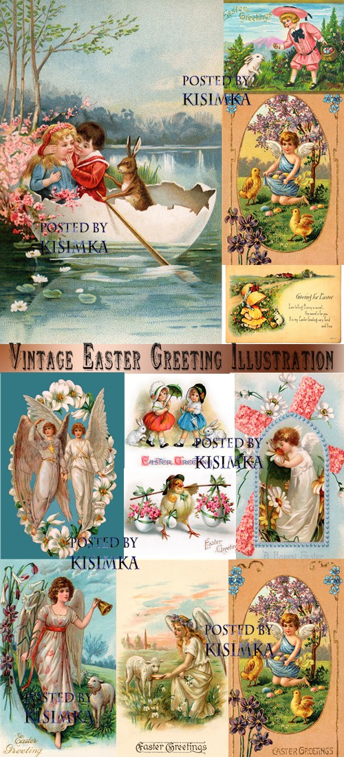 Stock Photo: Vintage Easter Greeting Illustration