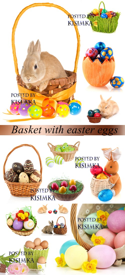 Stock Photo: Basket with easter eggs