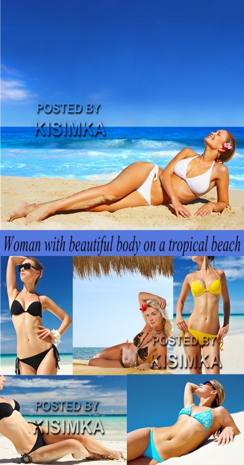 Stock Photo: Woman with beautiful body on a tropical beach