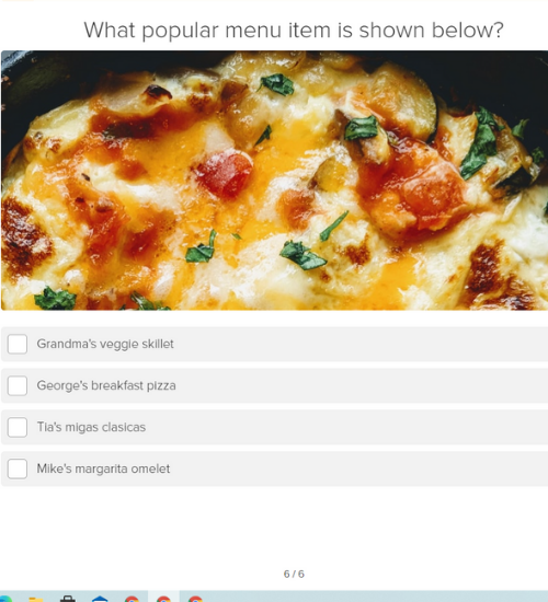 picture quiz question of egg dish with menu options to identify the right one