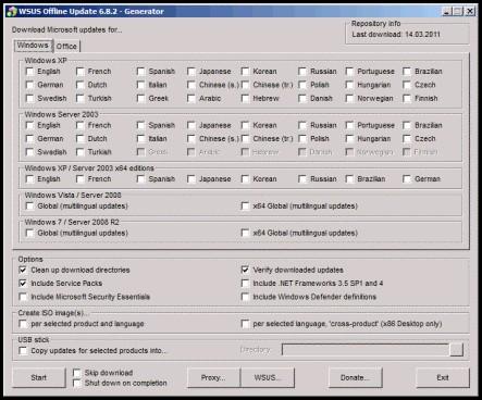 Tampilan WSUS Offline Update 6.28