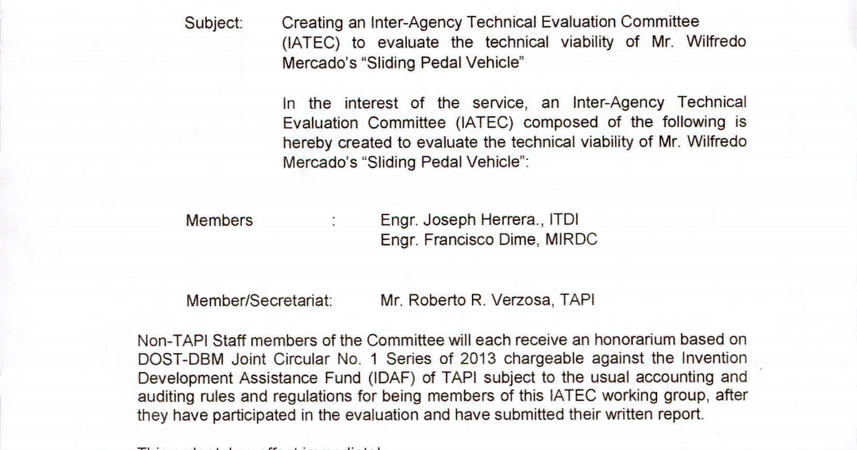 SO-2018-392 - Creating an Inter-Agency Technical Evaluation
