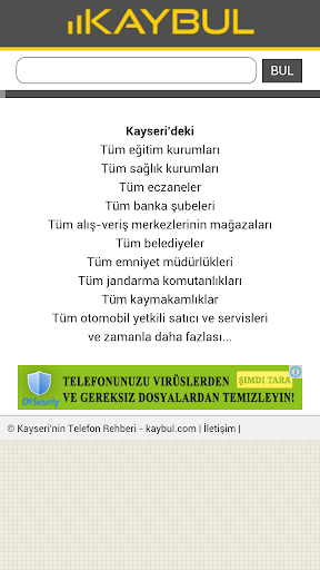 kaybul Kayseri Telefon Rehber
