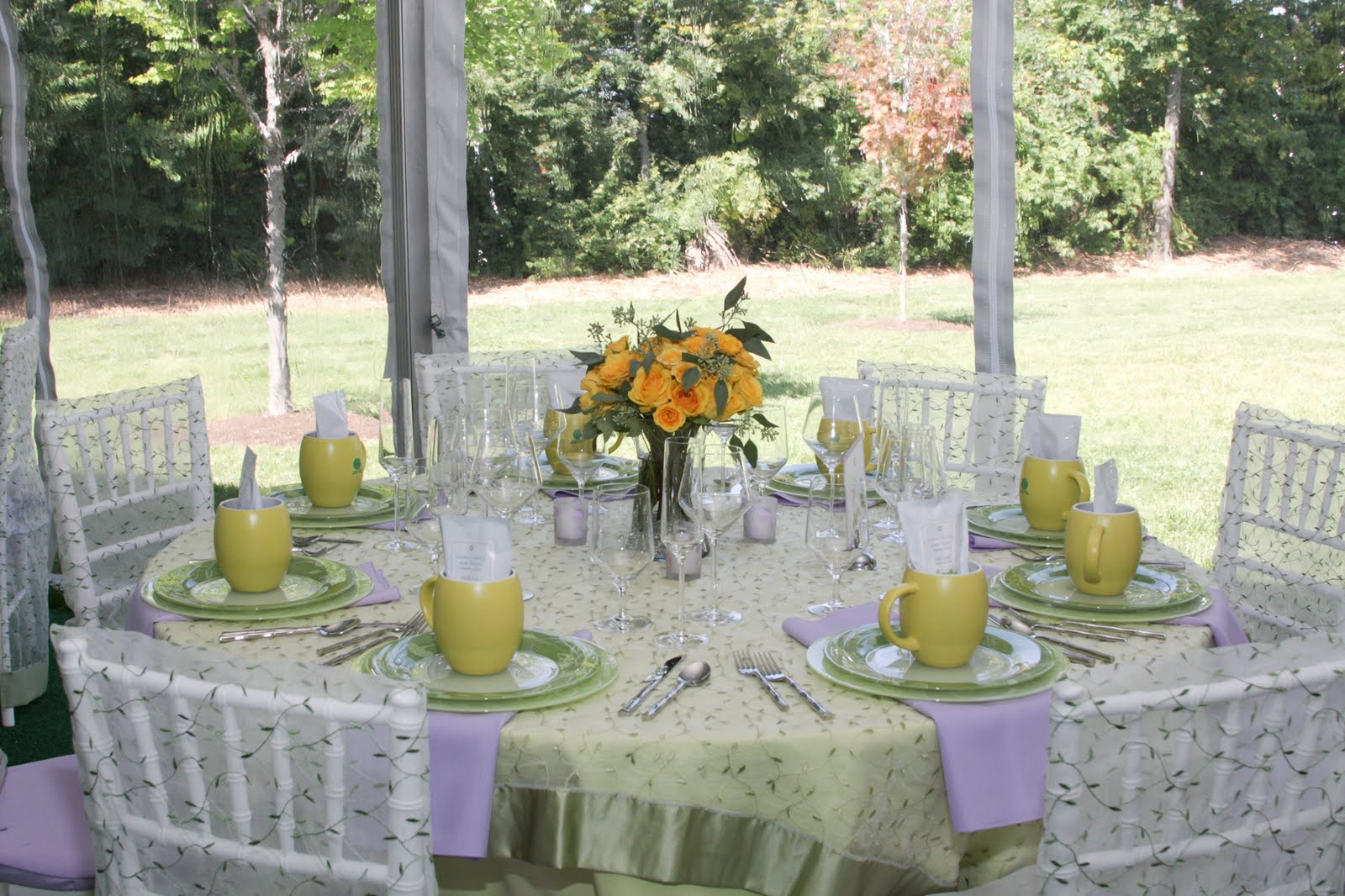 Wedding decorations, tables on personalized wedding napkins