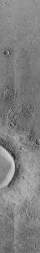 Flow-ejecta Crater in Icaria Planum - High Resolution Image