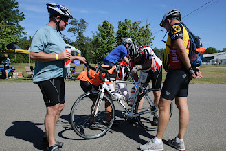 Photo: Jackson Shu is always willing to diagnose a bike problem, this one at the rest stop on 301 in Caroline