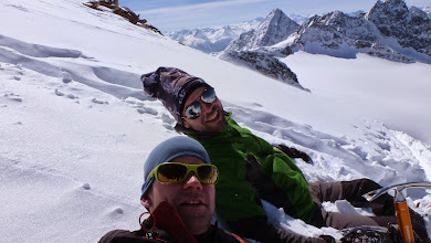 Photo: Getting some tan and cooling down in the snow on the top of Silvrettahorn