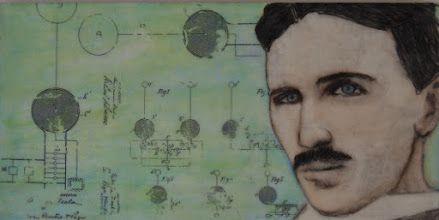"""Photo: Tesla and the Birth of the Radio, 8 x 16"""", encaustic collage"""