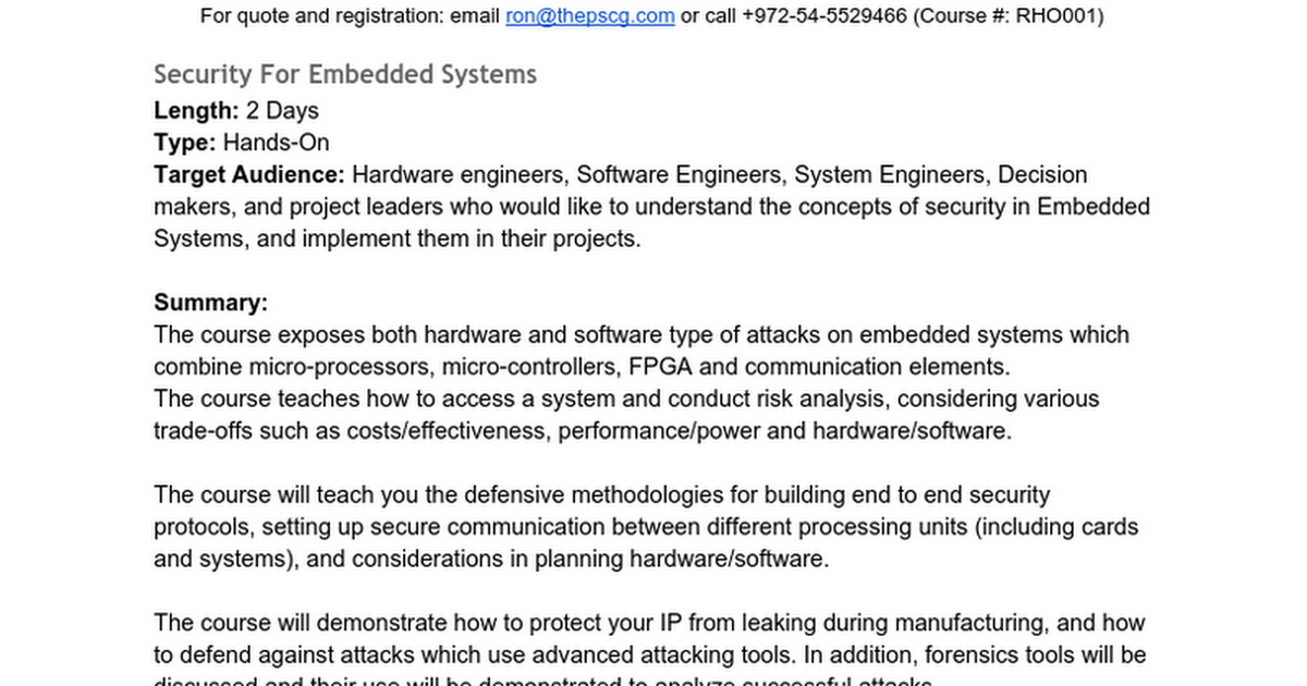 Security For Embedded Systems (RHO001) - Google Docs