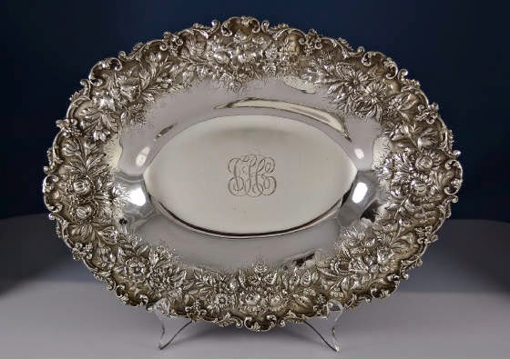 Photo: Kirk Repousse Vegetable Tray — http://www.RareSterling.com  Sterling Silver Flatware and Hollowware  RareSterling.com Antiques — Buying Sterling Silver from anyone, anywhere in the USA. Trust in our Experience!  Call Mike Coone, the Rare Sterling Silver Specialist, today at 310.435.1056 or visit our website at http://www.RareSterling.com