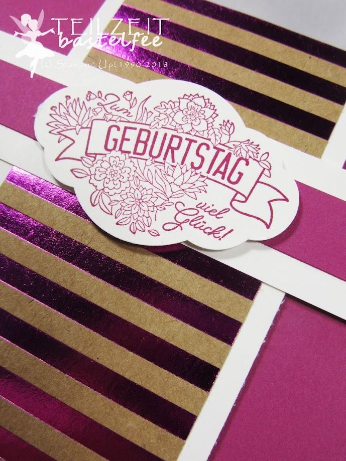 Stampin' Up! - IN{K}SPIRE_me Sketch Challenge #334, Label me pretty, Quartett fürs Etikett, Designerpapier Metallic-Glanz, Square