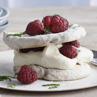 Raspberry and Hazelnut Pavlovas