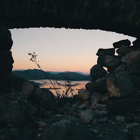 Sunset in Montenegro by Anja Popov - Landscapes Sunsets & Sunrises ( nature, sunset, lake, landscape, rocks )