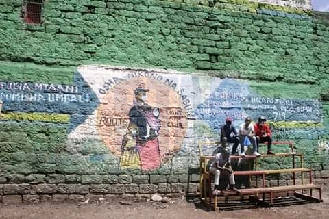 Coronavirus Awareness art murals drawn on houses and shop buildings in Mathare Slums drawn by Mathare youths.
