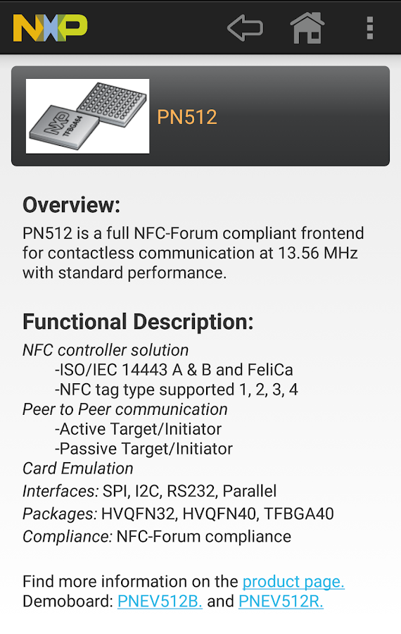NFC Product Selection- screenshot