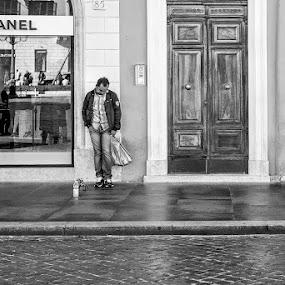Lonely Roman Peddler by Russ Quinlan - City,  Street & Park  Street Scenes ( rome, blackandwhite, bw, street, travel, italy )