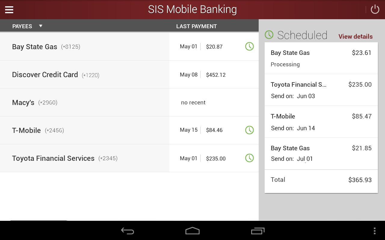 SIS Mobile Banking- screenshot