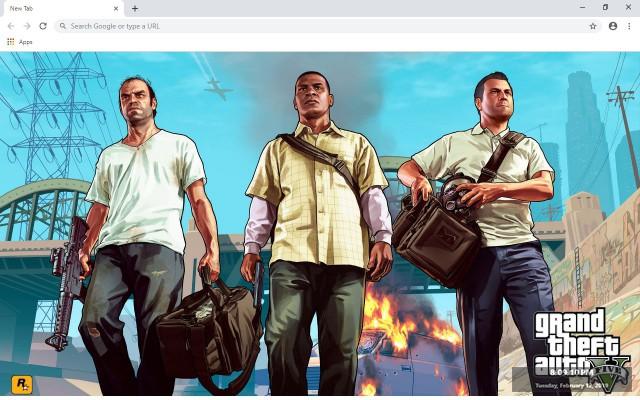 Grand Theft Auto 5 GTA V New Tab Theme