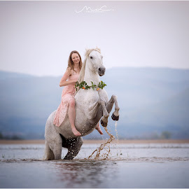 Water Dancers by Maja Lesar - Animals Horses ( horse, nikon, trust, love, slovenia, natural, nature, model, girl, free, water, lake )