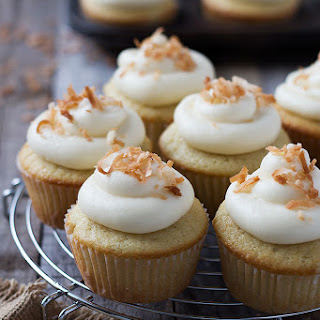 Coconut Cupcakes with Cream Cheese Frosting.