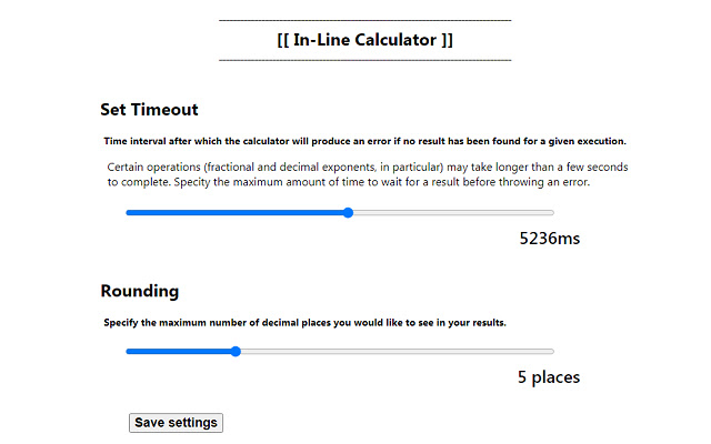 In-Line Calculator