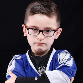 Cold by Cameron  Cleland - Babies & Children Child Portraits ( studio, hockey, player, handsome, boy )