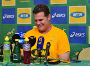 Springboks coach Rassie Erasmus speaks to the media during the The Rugby Championship South Africa squad announcement at Garden Court Umhlanga, Durban on August 16 2018.