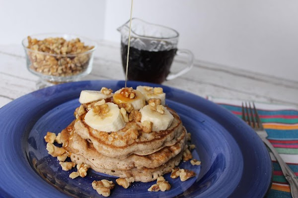 Place your stack of pancakes on plate and loaded them as picture shows, add...