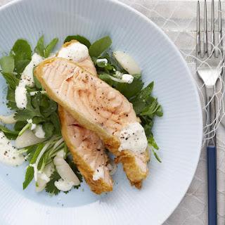 Salmon Tempura with Lychee Salad.