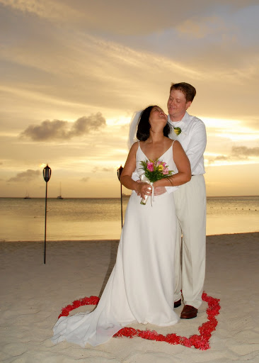 Bride + Groom ; Beach Wedding Gown