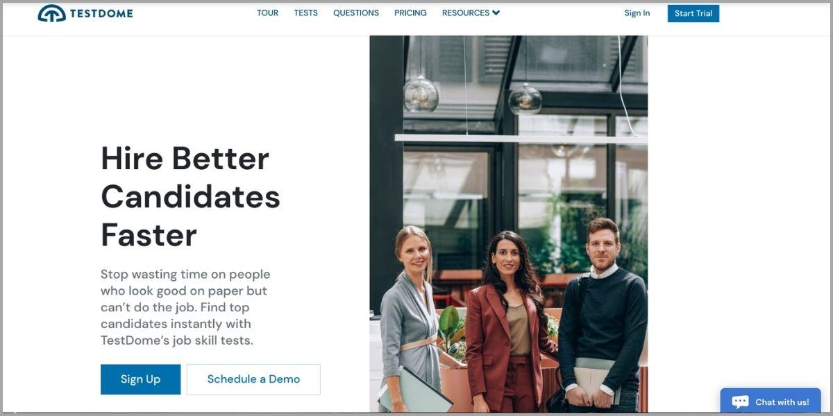 testdome homepage