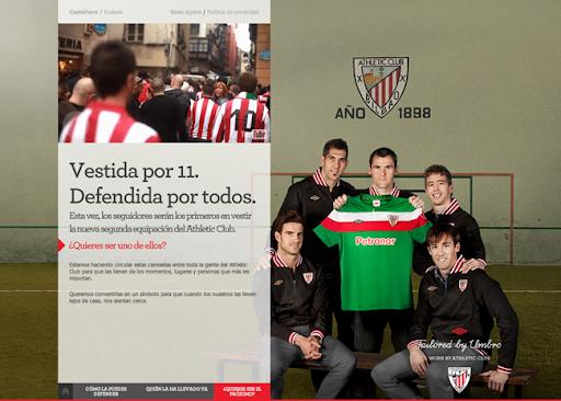 Web de Doubleyou para Umbro y el Athletic de Bilbao. Vestida por 11, defendida por todos