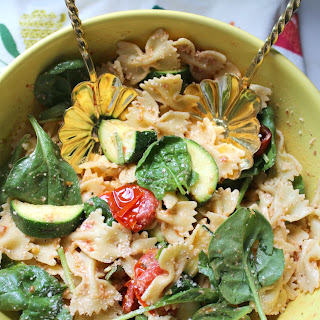 GRILLED ZUCCHINI AND BALSAMIC TOMATO PASTA SALAD