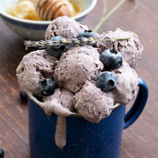 Sugar Free Blueberry Cheesecake Ice Cream with Lavender.